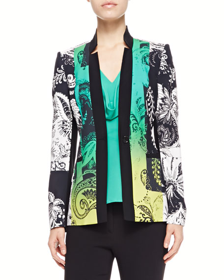 Paisley-Print Jacket, Green/Black