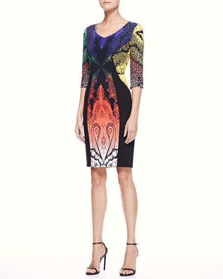 Paisley Panel Dress, Multi/Black