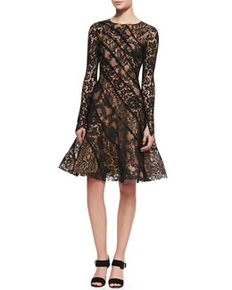 Oscar de la Renta Long-Sleeve Lace Cocktail Dress