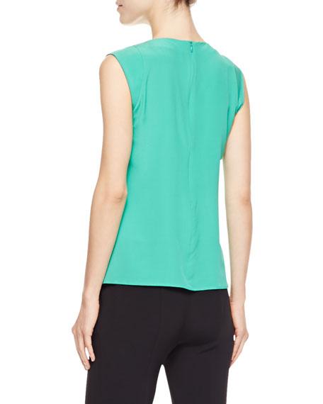 Cowl-Neck Silk Blouse, Green