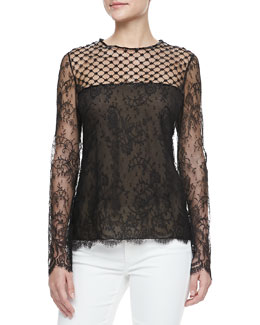 Oscar de la Renta Long-Sleeve Lace-Inset Blouse, Black