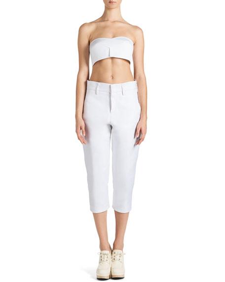 Cropped Stretch Satin Slim Pants
