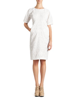 Jil Sander Short-Sleeve Cotton Jacquard Dress, White