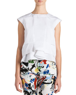 Jil Sander Cap-Sleeve Ruffle-Bottom Top