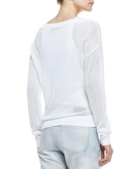 Crochet Knit Long-Sleeve Sweater