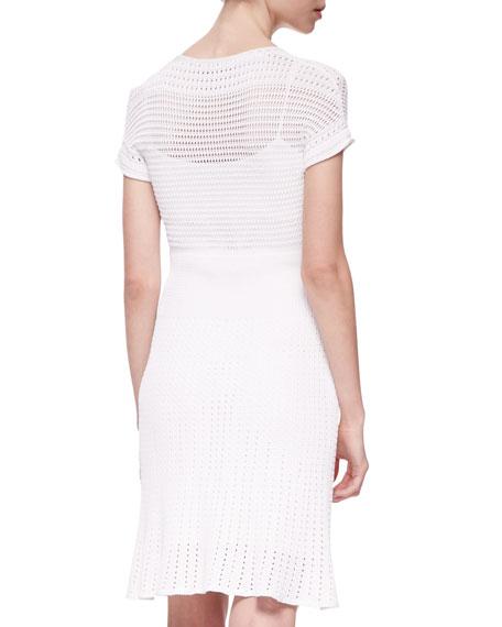 Short-Sleeve Engineered Mesh Knit Sheath Dress
