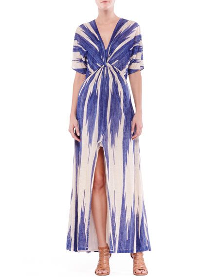 Suzanne Printed Linen Knot Maxi Dress