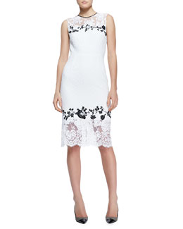 Erdem Sleeveless Fitted Lace Sheath Dress, White/Black