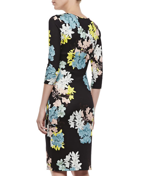 Floral Jersey Dress with 3/4 Sleeves