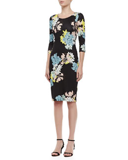 Erdem Floral Jersey Dress with 3/4 Sleeves