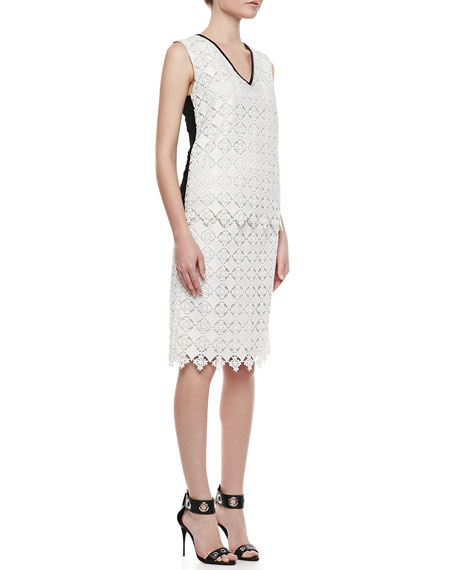 Aysha Lace Pencil Skirt, White