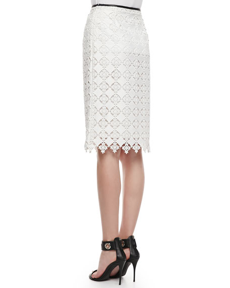 Aysha Lace Pencil Skirt, White