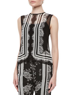Erdem Naomi Lace Chiffon Top with Cami