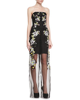Erdem Strapless Una Jumpsuit with Sheer Leg