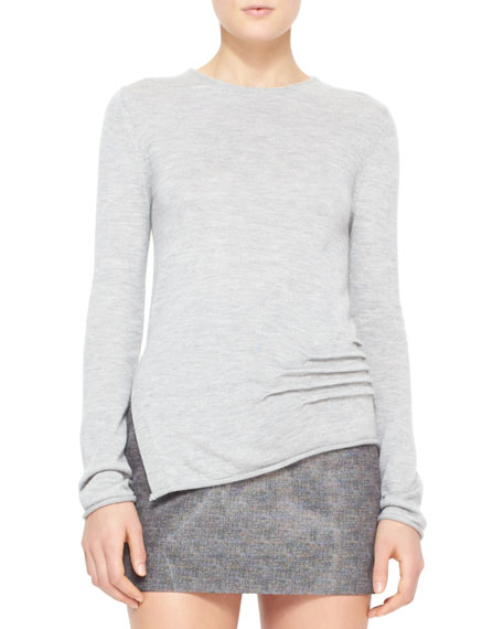 Cashmere-Silk Pullover with Side Slits, Vinyl