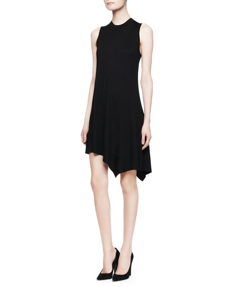 Sleeveless Cashmere-Silk Dress, Vinyl Black