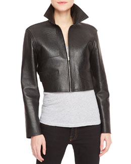 Alexander Wang Leather-Front Knit-Back Cropped Moto Jacket, Black/Gray