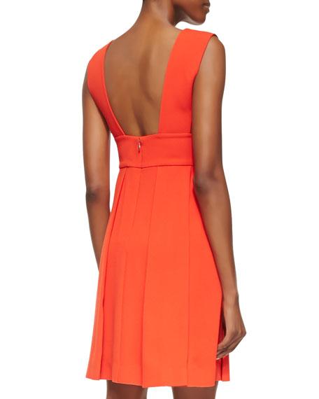 Sleeveless Drape-Front Crepe Dress