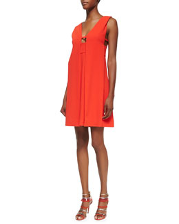 Alexander Wang Sleeveless Drape-Front Crepe Dress