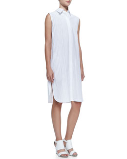 Alexander Wang Sleeveless Logo Bonded Shirtdress