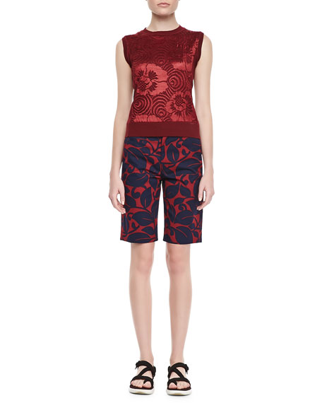 Floral Bermuda Shorts, Burgundy/Navy