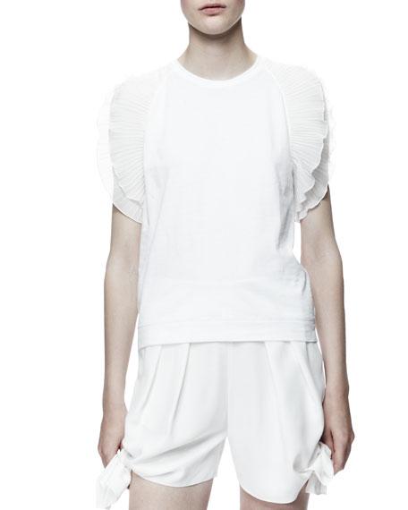 Scallop-Sleeve T-Shirt, Cream