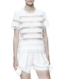 Chloe Eyelet-Striped Cotton Shirt, White