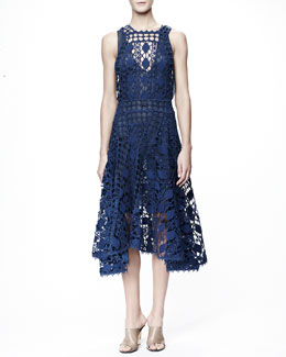 Chloe Sleeveless Graphic Lace Dress, Blue