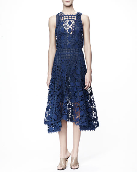Sleeveless Graphic Lace Dress, Blue