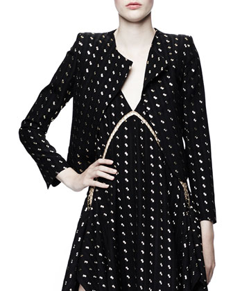 Metallic Herringbone Blazer, Black Onyx