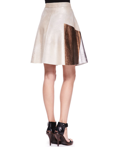 Foiled Colorblock Flare Skirt