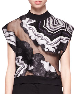 3.1 Phillip Lim Geode Embroidered Crop Top, Black/Multi