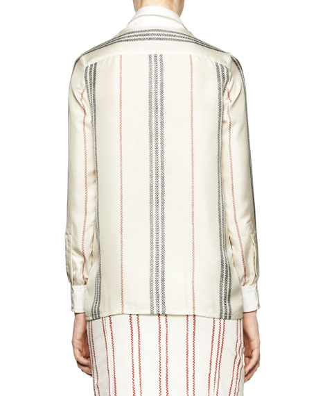 Chika Long-Sleeve Striped Blouse