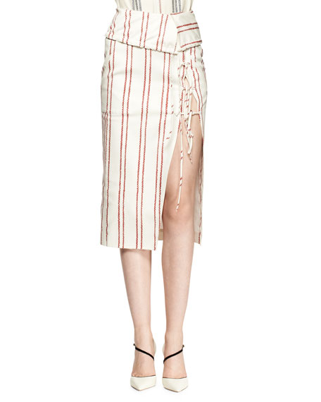 Striped Tie-Slit Fold-Over Skirt