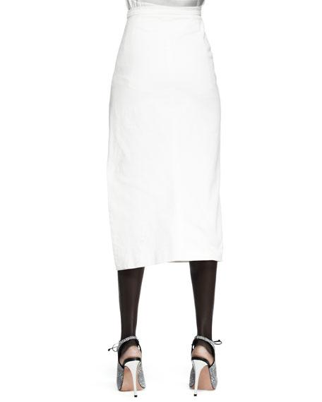 Canvas Thigh-Slit Midi Skirt