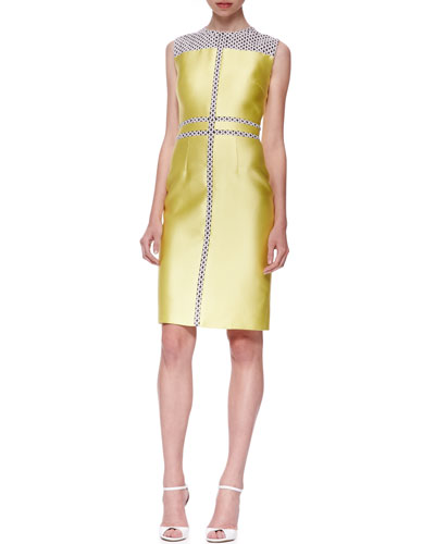J. Mendel Print-Paneled Sheath Dress