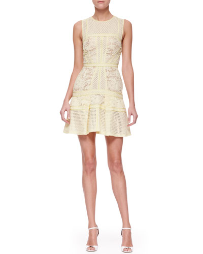 J. Mendel Mixed-Lace Paneled Dress