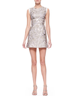 J. Mendel Sleeveless Embossed Foil Dress