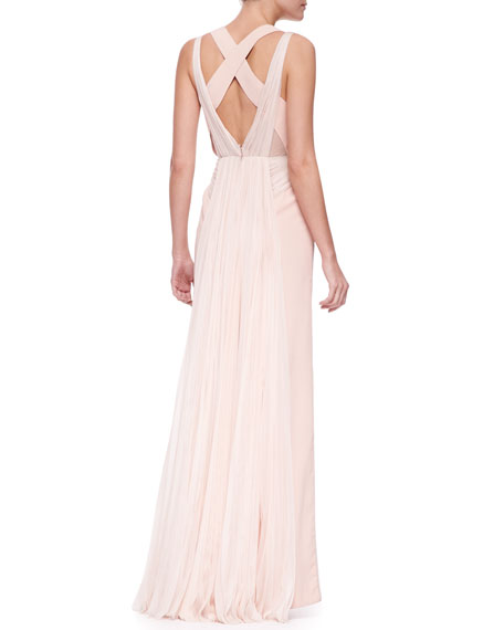V-Neck Plisse-Panel Silk Gown