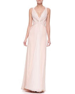 J. Mendel V-Neck Plisse-Panel Silk Gown