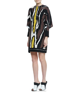 Fendi Batwing-Sleeve Zebra-Print Dress