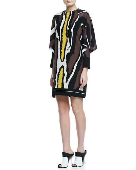 Batwing-Sleeve Zebra-Print Dress