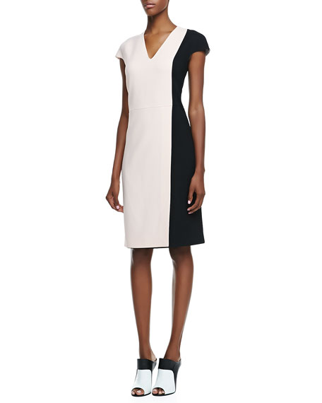 Colorblock Cap-Sleeve V-Neck Silk Dress, Rose/Black