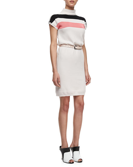 Mock-Neck Striped Cashmere Dress with Leather Belt