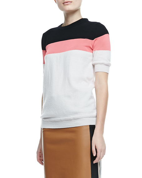 Striped Short-Sleeve Cashmere Sweater