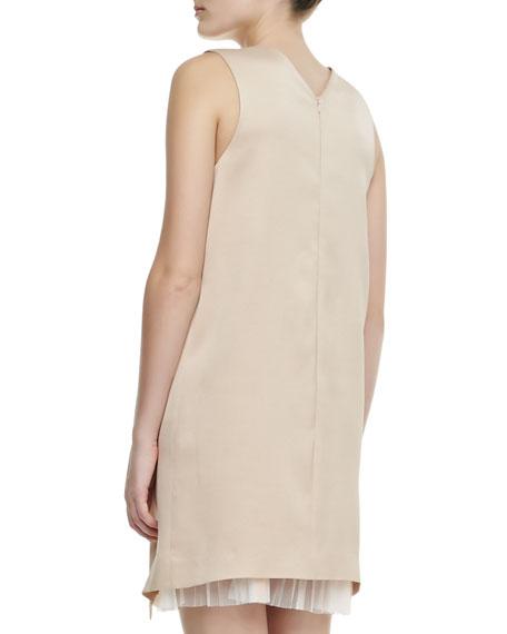 High-V Cutaway Pleat-Inset Dress