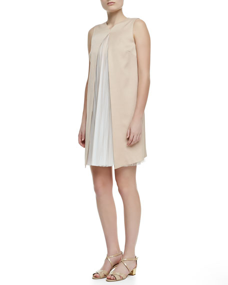 High-V Cutaway Pleat-Inset Dress