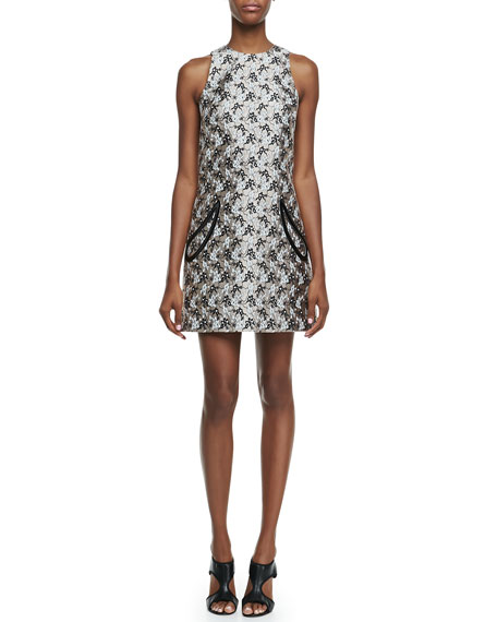 Plasma Petal-Pocket Metallic Mini Shift Dress