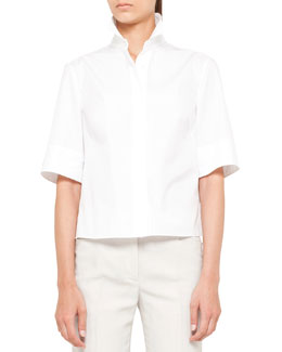 Akris punto Cotton Plisse-Back Blouse