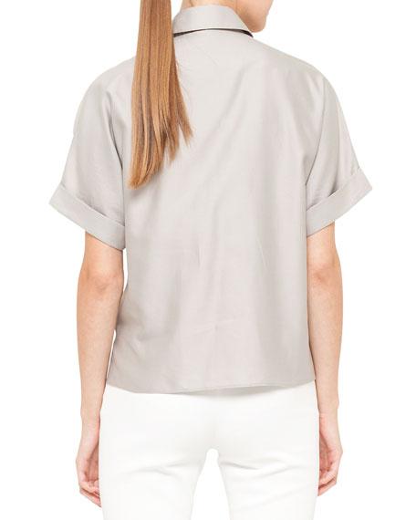 Short-Sleeve Awning Stripe Blouse